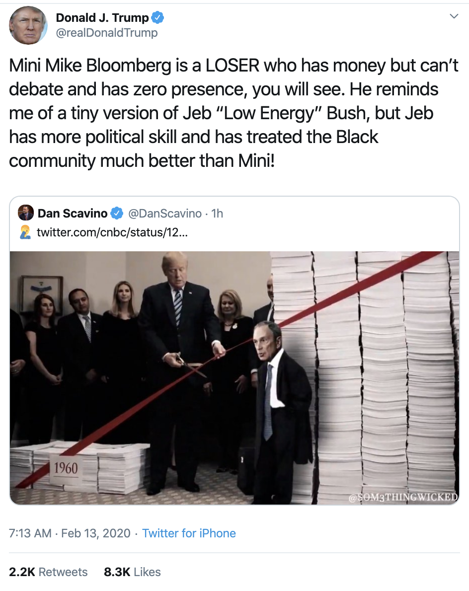 Screen-Shot-2020-02-13-at-7.24.54-AM Trump Mocks Bloomberg's Height In Nasty AM Whine Donald Trump Election 2020 Featured Politics Top Stories