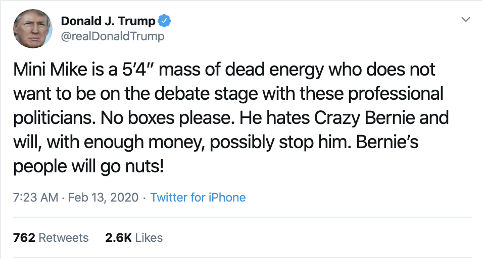 Screen-Shot-2020-02-13-at-7.25.42-AM Trump Mocks Bloomberg's Height In Nasty AM Whine Donald Trump Election 2020 Featured Politics Top Stories