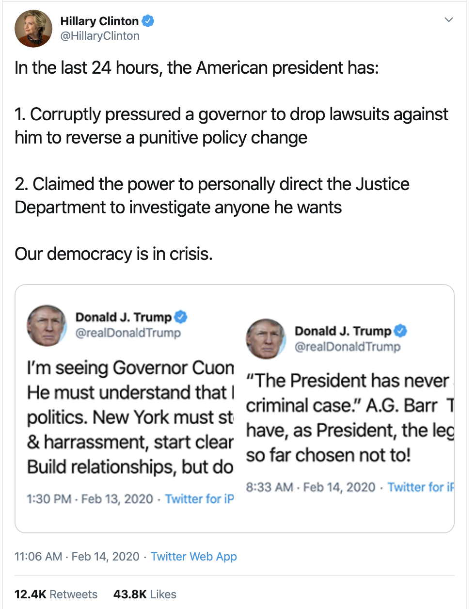 Screen-Shot-2020-02-16-at-9.02.42-AM Hillary Perfectly Puts Trump To Shame On Twitter Election 2016 Election 2020 Featured Politics Top Stories