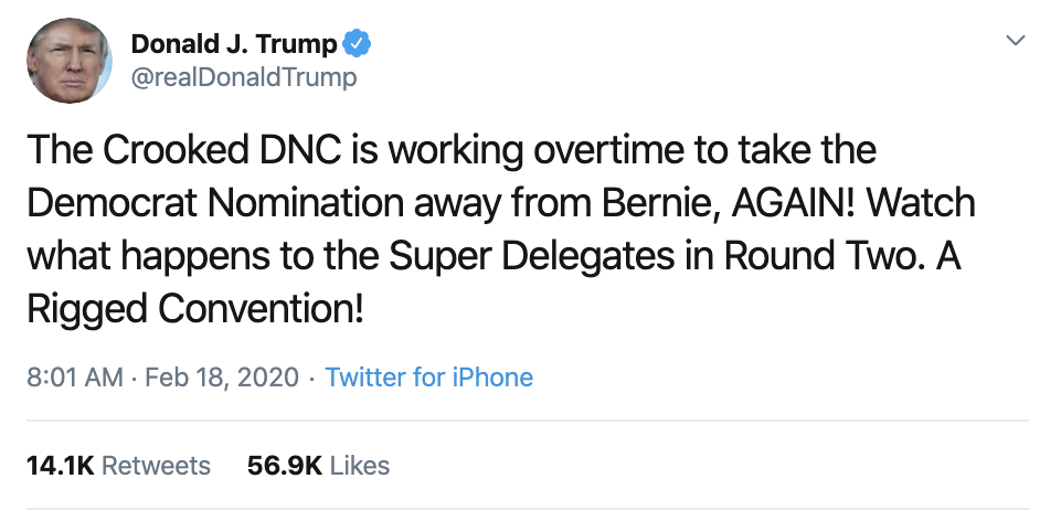 Screen-Shot-2020-02-18-at-11.54.11-AM Trump Is Going Off On Twitter Like He's Unemployed Activism Corruption Election 2020 Featured Politics Top Stories