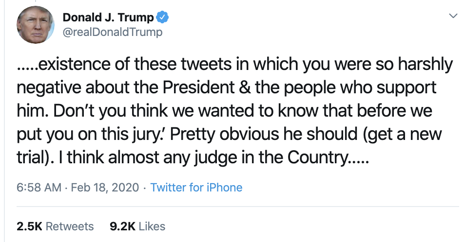 Screen-Shot-2020-02-18-at-7.35.32-AM Trump Threatens To Sue In SAD Tuesday AM Cry-Fest Corruption Election 2020 Featured Politics Top Stories