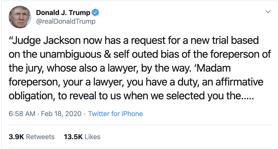 Screen-Shot-2020-02-18-at-7.36.10-AM Trump Threatens To Sue In SAD Tuesday AM Cry-Fest Corruption Election 2020 Featured Politics Top Stories