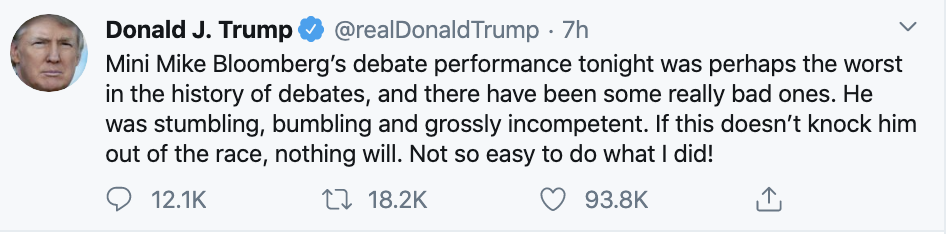 Screen-Shot-2020-02-20-at-8.19.38-AM Trump Tweets Fake Bloomberg Video During Multi-Tweet AM Meltdown Donald Trump Election 2020 Featured Politics Top Stories