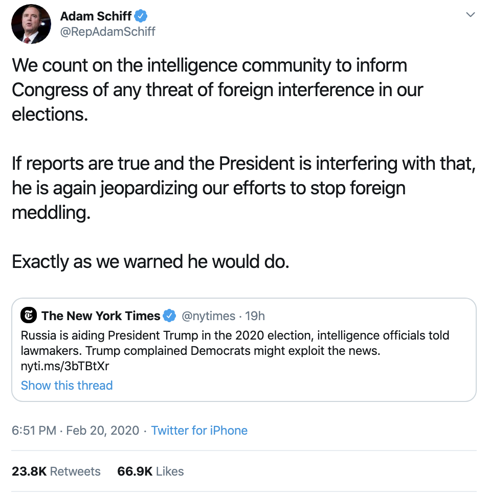 Screen-Shot-2020-02-21-at-11.22.43-AM Schiff Exposes Trump With Russian Meddling Evidence Declaration Crime Election 2020 Featured Politics Top Stories