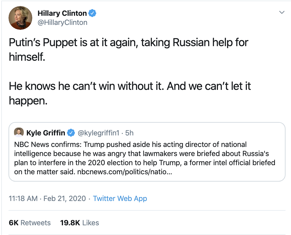 Screen-Shot-2020-02-21-at-12.25.39-PM Hillary Clinton Makes Friday Russian Meddling Evidence Declaration Election 2016 Featured Politics Russia Top Stories