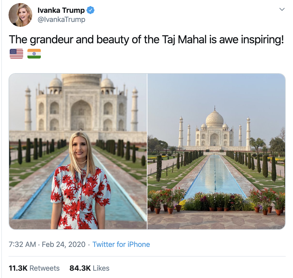 Screen-Shot-2020-02-24-at-11.22.22-AM Ivanka Lambasted For Going To India On Taxpayers' Dime Corruption Featured Foreign Policy Politics Top Stories
