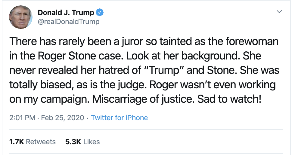 Screen-Shot-2020-02-25-at-2.06.36-PM-1 Trump Attacks Juror In Roger Stone Case On Twitter Corruption Donald Trump Featured Politics Top Stories