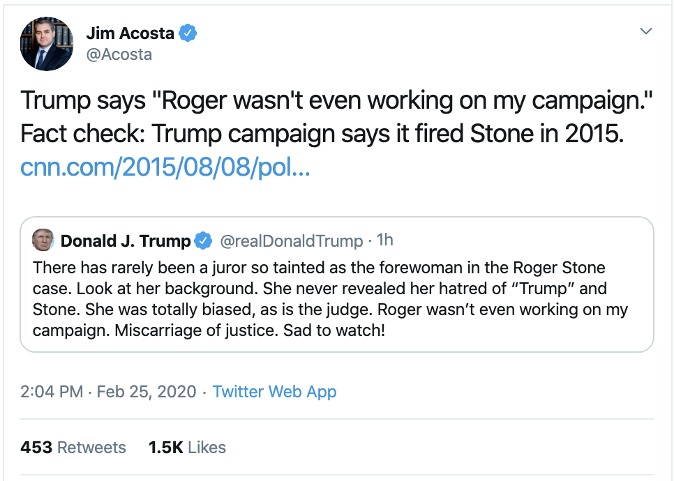 Screen-Shot-2020-02-25-at-3.14.32-PM Jim Acosta Busts Trump In A Major Lie On Twitter Corruption Crime Featured Politics Top Stories