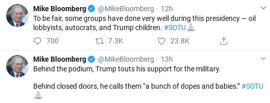 Screenshot-2020-02-05-at-10.32.01-AM Bloomberg Embarrasses Trump At SOTU With 6-Tweet Trolling Donald Trump Election 2020 Politics Social Media Top Stories