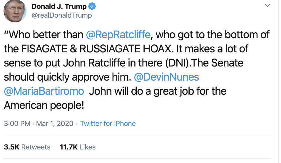 Screen-Shot-2020-03-01-at-3.29.37-PM Trump Multi-Tweets Sunday Rage At List Of Enemies Like A Maniac Featured Healthcare National Security Politics Top Stories