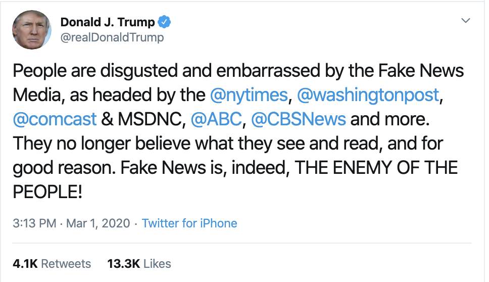 Screen-Shot-2020-03-01-at-3.30.25-PM Trump Multi-Tweets Sunday Rage At List Of Enemies Like A Maniac Featured Healthcare National Security Politics Top Stories