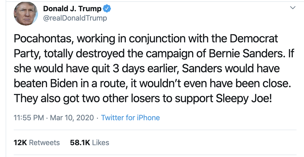 Screen-Shot-2020-03-11-at-7.16.57-AM Trump Sees Dem Primary Results & Has Racist Toddler Style Tantrum Corruption Donald Trump Featured Politics Top Stories