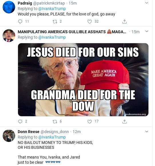 Screenshot-2020-03-25-at-10.21.56-AM Ivanka Suffers Wednesday Shaming After Corona Bailout Tweet Goes Wrong Donald Trump Politics Social Media Top Stories