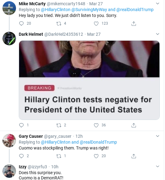 Screenshot-2020-03-29-at-10.49.36-AM Hillary Humiliates Trump With Coronavirus Failure Twitter Trolling Donald Trump Politics Social Media Top Stories