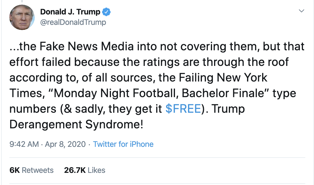 Screen-Shot-2020-04-08-at-10.44.42-AM Trump Thanks Warren For Knocking Bernie Out Of Race Donald Trump Election 2020 Politics Top Stories Twitter