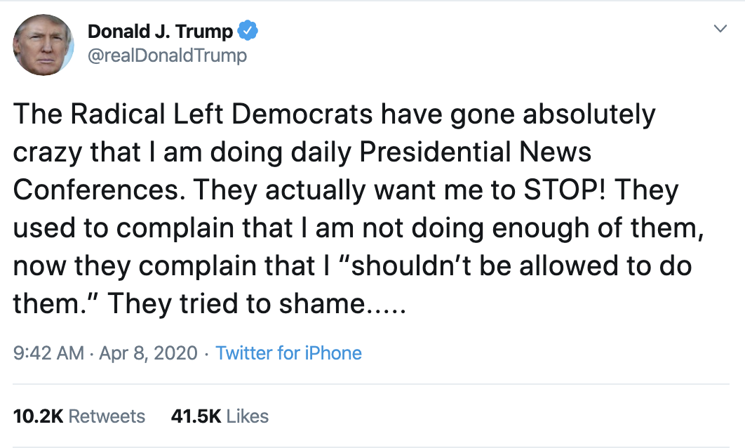 Screen-Shot-2020-04-08-at-10.54.30-AM Trump Thanks Warren For Knocking Bernie Out Of Race Donald Trump Election 2020 Politics Top Stories Twitter
