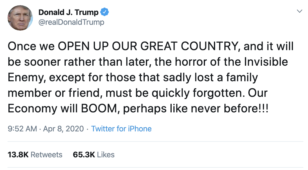 Screen-Shot-2020-04-08-at-10.55.31-AM Trump Thanks Warren For Knocking Bernie Out Of Race Donald Trump Election 2020 Politics Top Stories Twitter