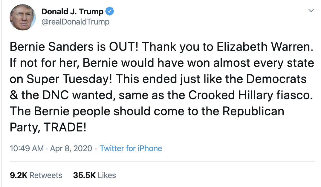 Screen-Shot-2020-04-08-at-11.01.03-AM Trump Thanks Warren For Knocking Bernie Out Of Race Donald Trump Election 2020 Politics Top Stories Twitter