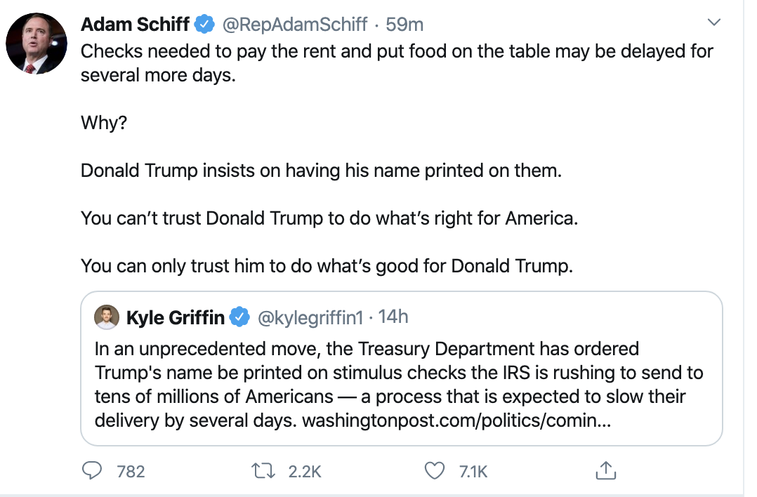 Screen-Shot-2020-04-15-at-10.26.53-AM Schiff Chides Trump For Shameful Signature On Check Stunt Corruption Featured Healthcare Politics Top Stories
