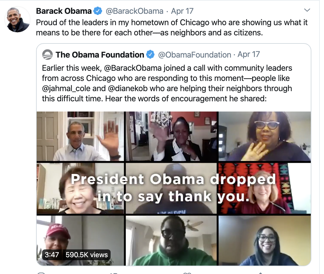 Screen-Shot-2020-04-19-at-12.19.37-PM Obama Shows Up Trump With Inspirational Weekend Message To America Election 2020 Featured Healthcare Politics Top Stories
