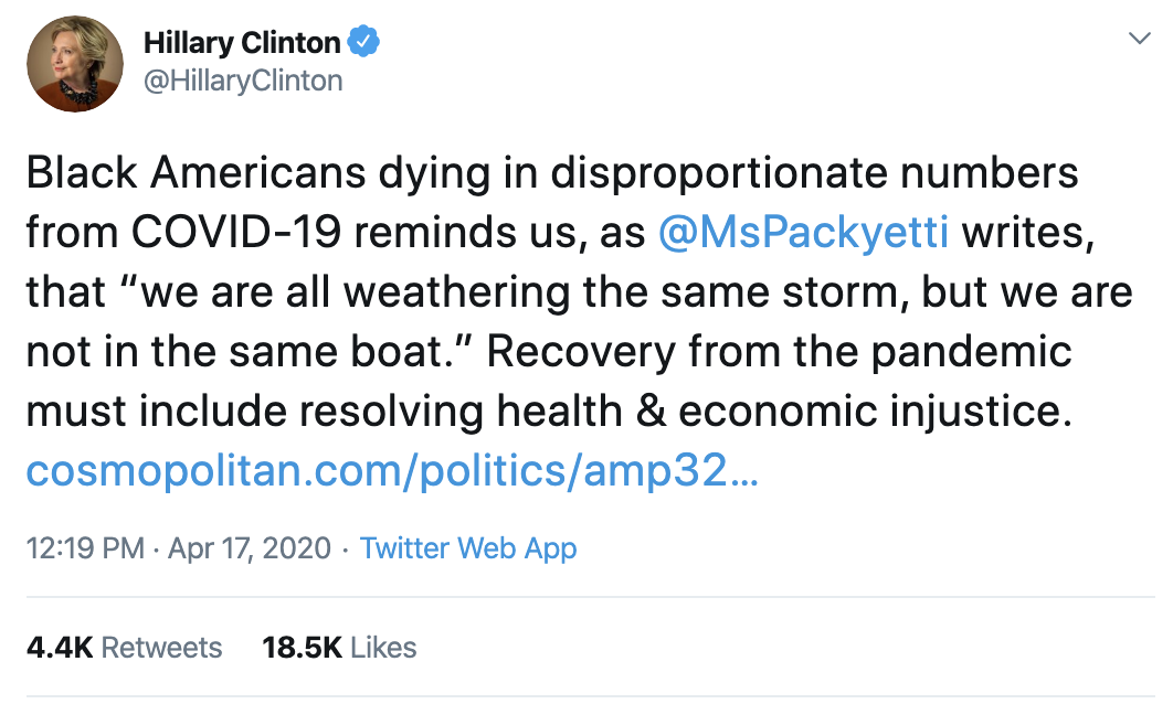 Screen-Shot-2020-04-19-at-8.22.16-AM Hillary Clinton Exposes Trump's Failed Corona Response For Black Americans Featured Healthcare Politics Racism Top Stories