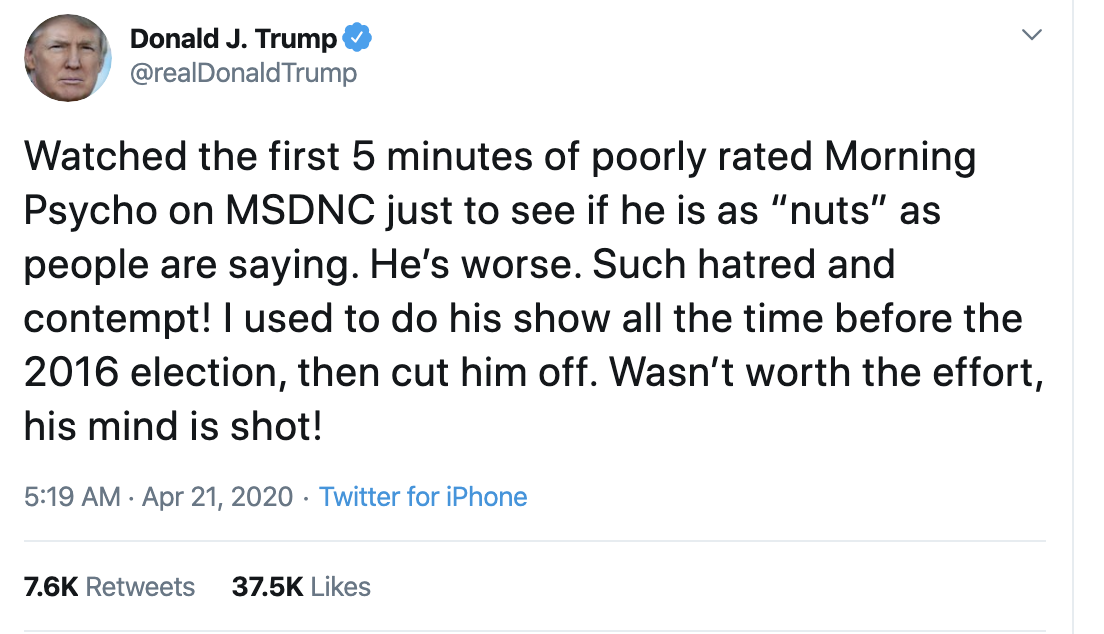Screen-Shot-2020-04-21-at-7.07.36-AM Trump Launches Morning War Of Words On Twitter Election 2020 Featured Healthcare Politics Top Stories