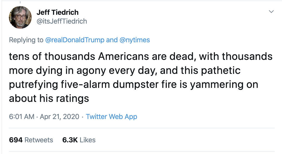 Screen-Shot-2020-04-21-at-8.57.07-AM Twitter Icon Rips Trump For Bragging As COVID-19 Kills 42,000 Election 2020 Featured Healthcare Politics Top Stories