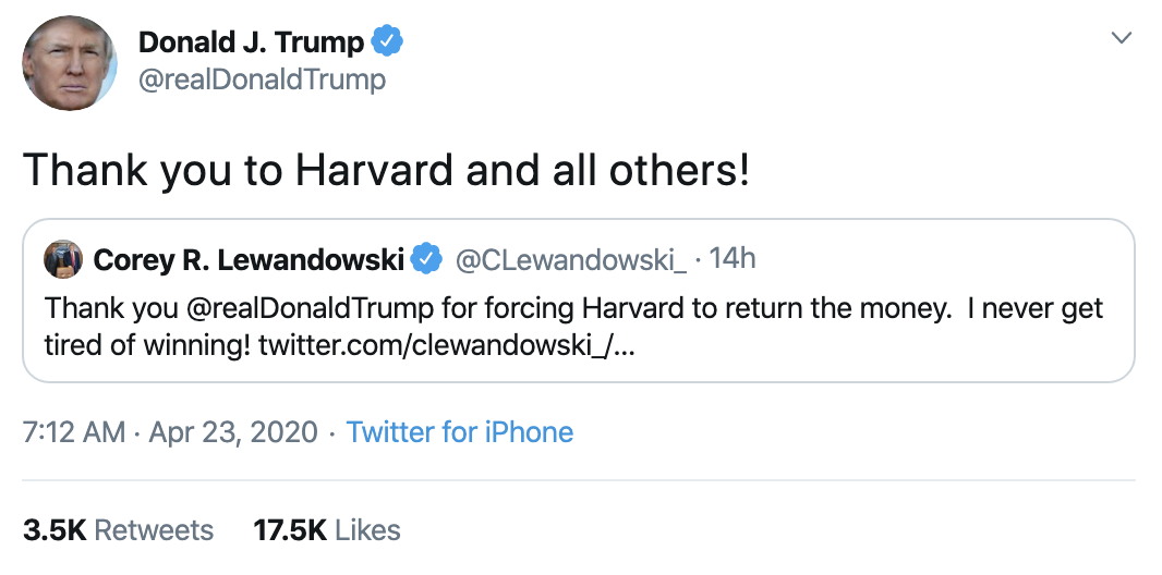 Screen-Shot-2020-04-23-at-8.49.34-AM Trump Tweets Jab At Harvard After 'Forcing' Them To Return Stimulus Economy Featured Healthcare Politics Top Stories