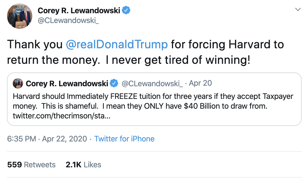 Screen-Shot-2020-04-23-at-8.52.16-AM Trump Tweets Jab At Harvard After 'Forcing' Them To Return Stimulus Economy Featured Healthcare Politics Top Stories
