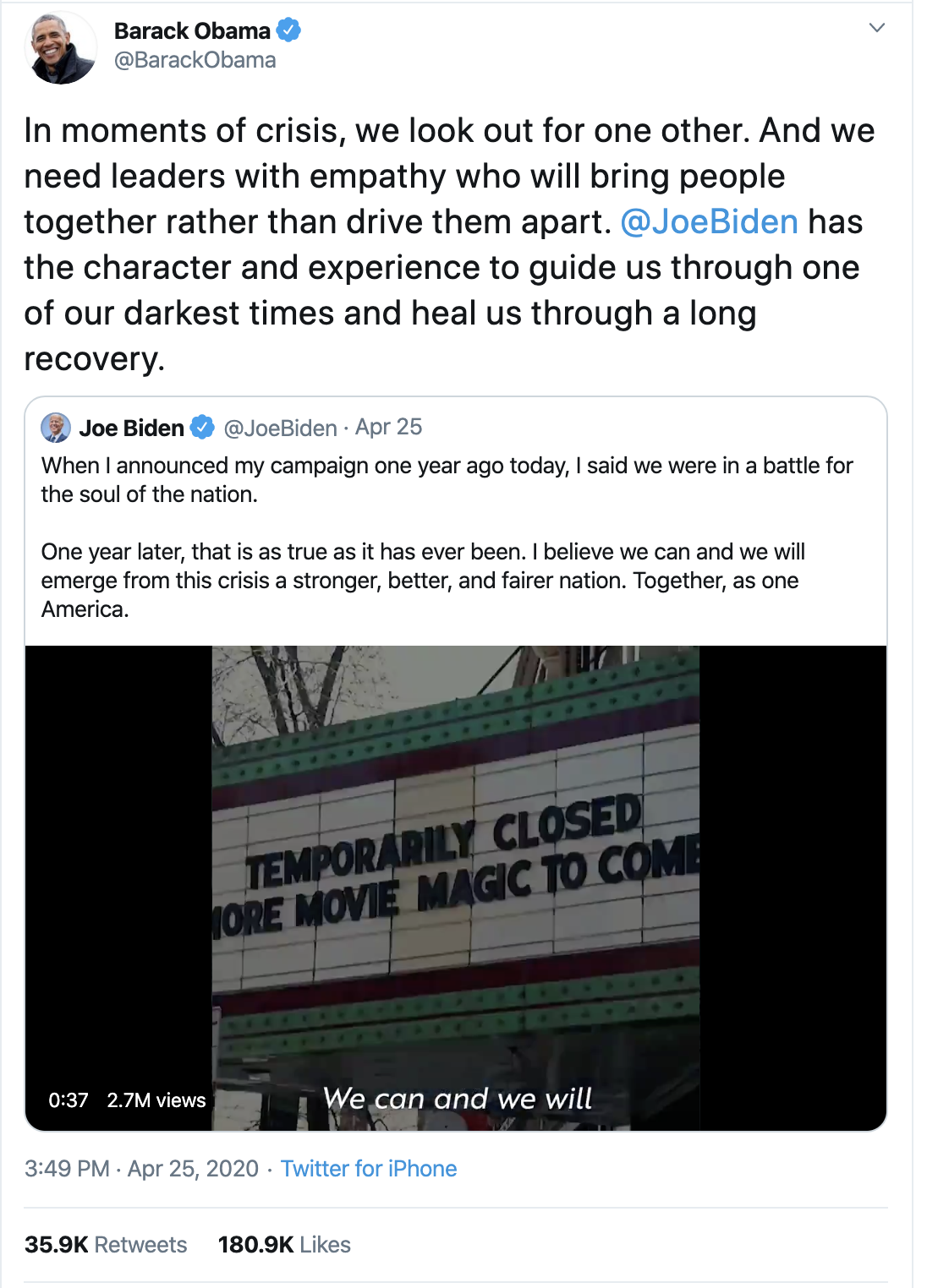 Screen-Shot-2020-04-26-at-9.00.52-AM Obama Tweets Updated Weekend 2020 Endorsement Like A Real Leader Election 2020 Featured Healthcare Politics Top Stories