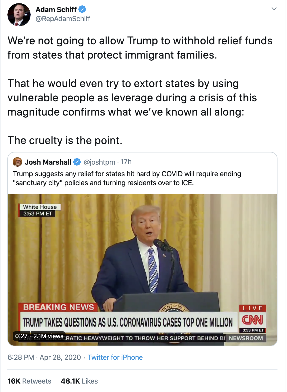 Screen-Shot-2020-04-29-at-9.01.28-AM Schiff Publicly Shames Trump Over Failed Corona Response With Viral Tweet Uncategorized