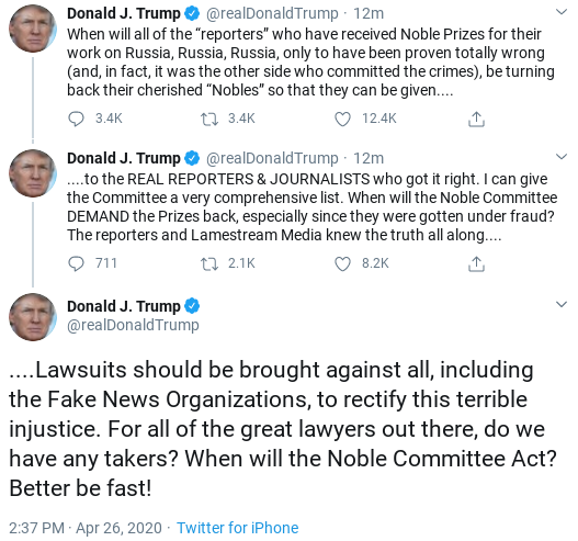 Screenshot-2020-04-26-at-2.49.28-PM Trump Finishes Sunday Shows & Suffers 6-Tweet Emotional Collapse Donald Trump Politics Social Media Top Stories