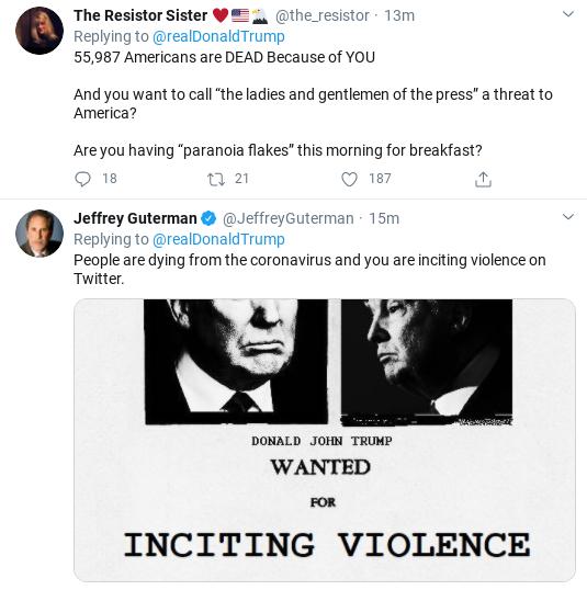 Screenshot-2020-04-27-at-10.05.17-AM Trump Tweets Unhinged Threatening Screed Against Media Donald Trump Politics Social Media Top Stories