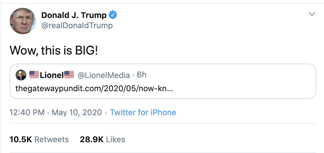 Screen-Shot-2020-05-10-at-3.22.53-PM Trump Claims Hillary Behind 'Russian Coup' On Twitter Corruption Crime Donald Trump Election 2020 Russia Top Stories Twitter