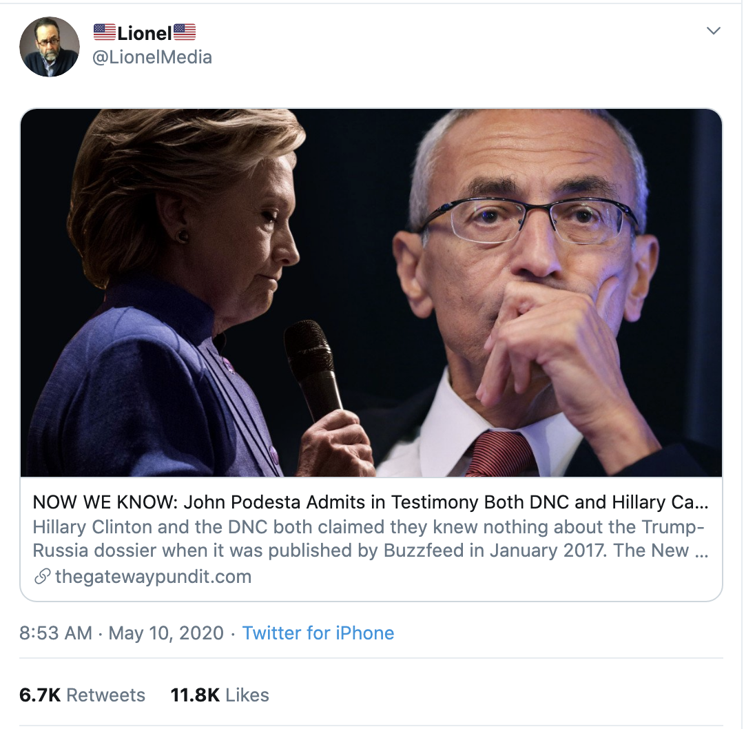 Screen-Shot-2020-05-10-at-3.42.50-PM Trump Claims Hillary Behind 'Russian Coup' On Twitter Corruption Crime Donald Trump Election 2020 Russia Top Stories Twitter