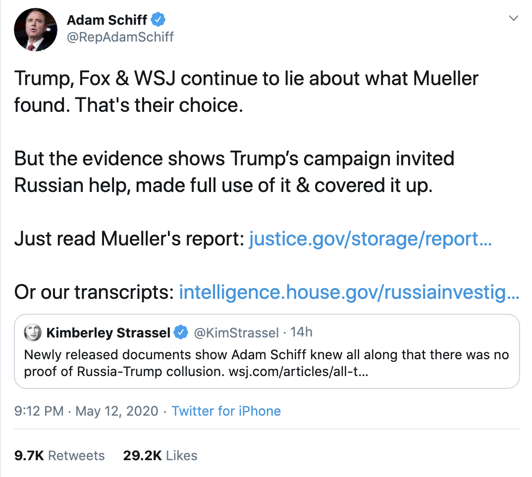 Screen-Shot-2020-05-13-at-8.54.30-AM Schiff Trolls Trump Over 'Russian Help' With Fact-Check Of GOP Lies Crime Featured Politics Russia Top Stories