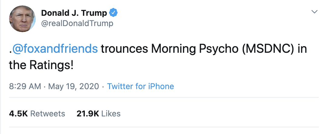Screen-Shot-2020-05-19-at-9.11.45-AM Trump Continues Tuesday AM Mental Breakdown On Twitter Coronavirus Featured Media Politics Top Stories