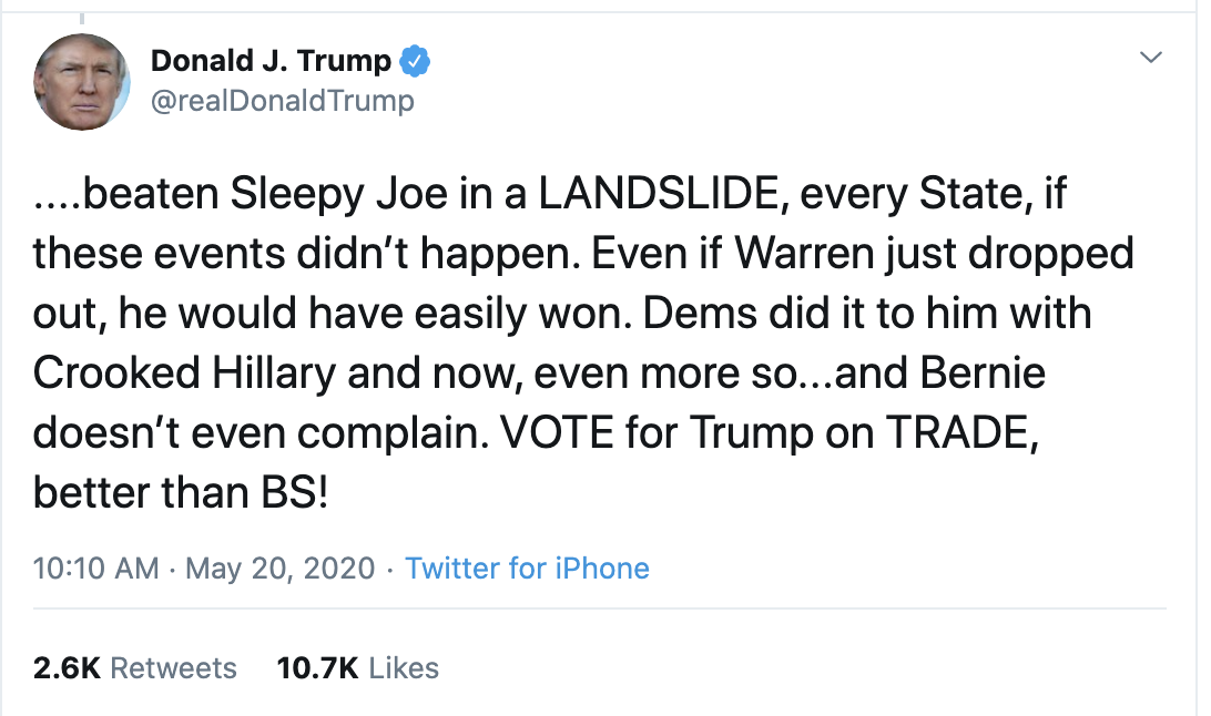 Screen-Shot-2020-05-20-at-10.42.31-AM Trump Erupts Into Multi-Tweet Rant Against Hillary, Biden, Sanders, Warren & More Coronavirus Featured Mental Illness Politics Top Stories