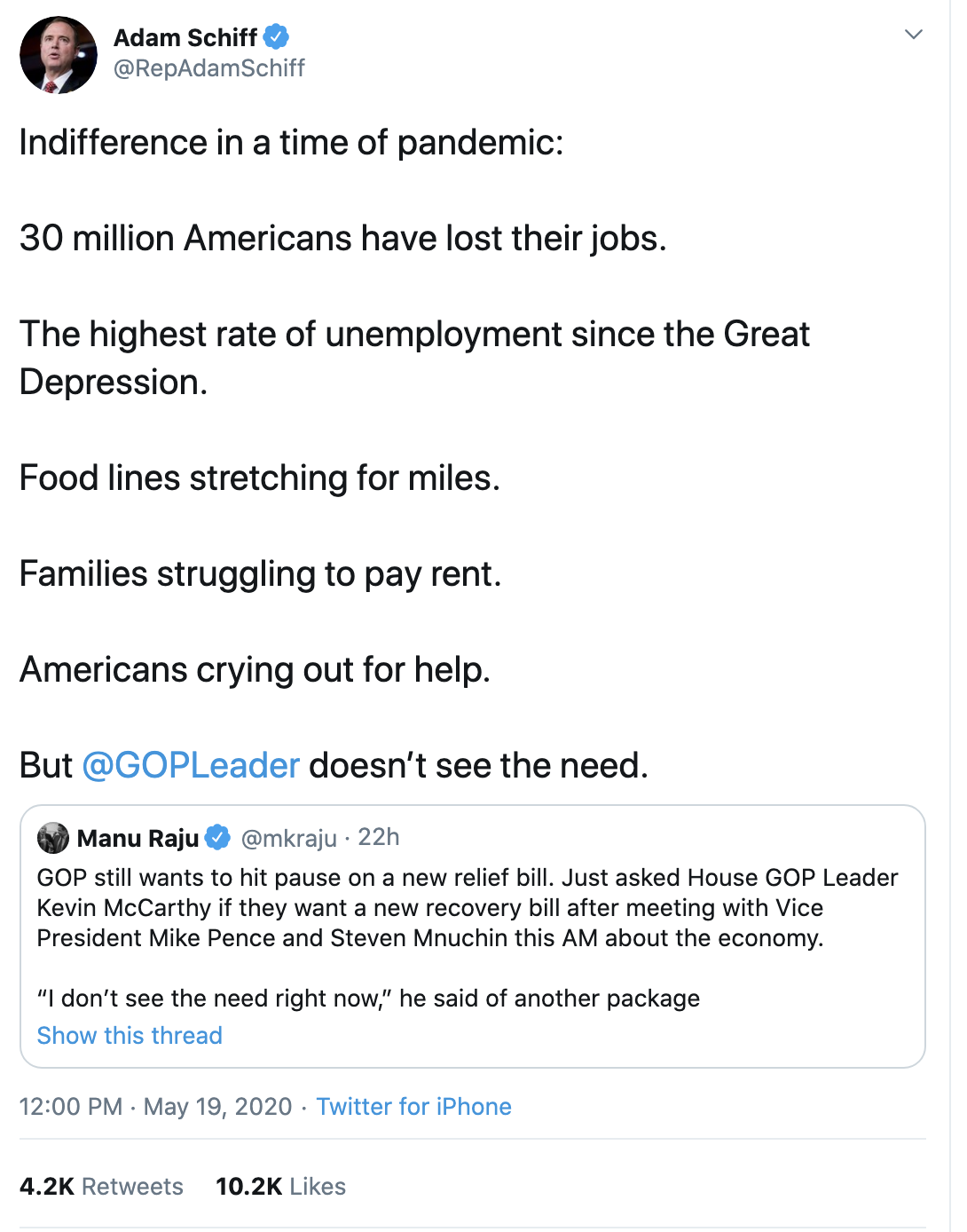 Screen-Shot-2020-05-20-at-8.08.56-AM Schiff Publicly Trolls Trump Over Failed COVID-19 Response Coronavirus Economy Election 2020 Featured Top Stories