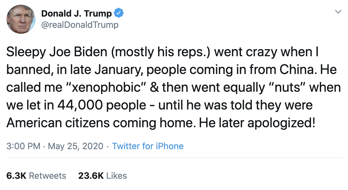 Screen-Shot-2020-05-25-at-3.42.58-PM Trump Spazzes Into 3-Tweet Afternoon Attack On Joe Biden Coronavirus Election 2020 Featured Politics Top Stories