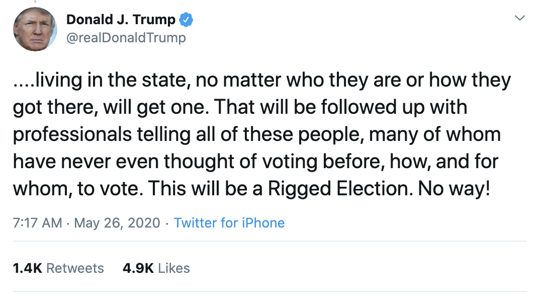 Screen-Shot-2020-05-26-at-7.25.13-AM Trump Declares 2020 Election Invalid During Pre-Dawn Mental Breakdown Corruption Featured Politics Top Stories