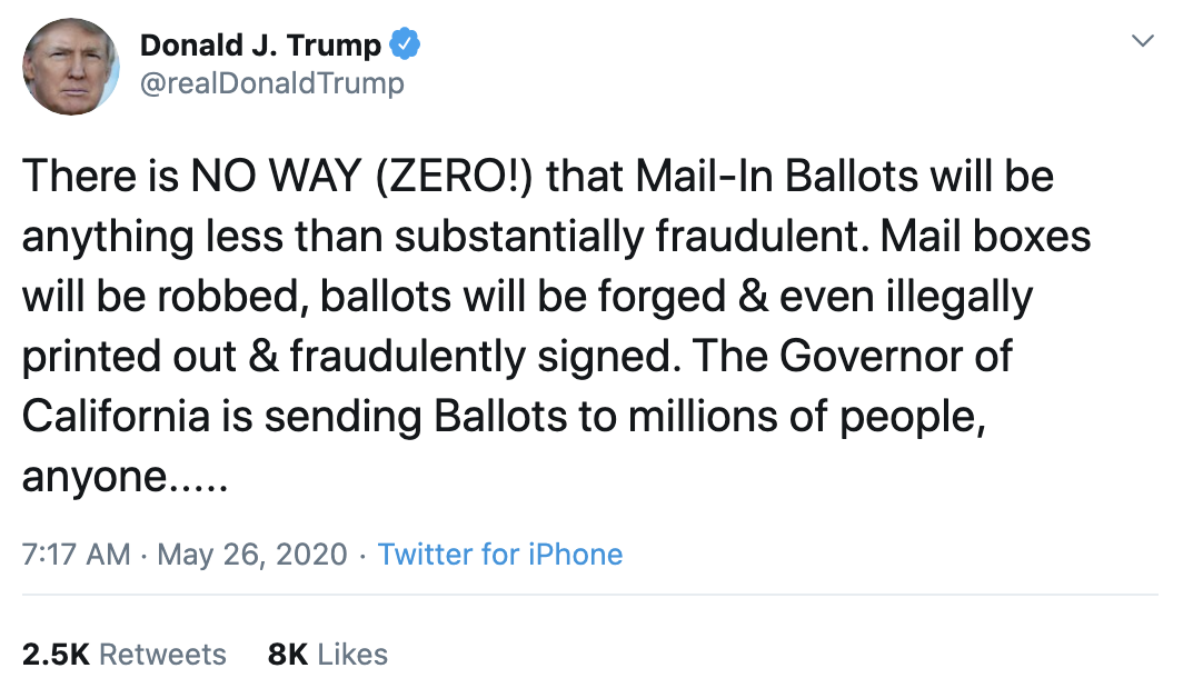 Screen-Shot-2020-05-26-at-7.26.26-AM Trump Declares 2020 Election Invalid During Pre-Dawn Mental Breakdown Corruption Featured Politics Top Stories