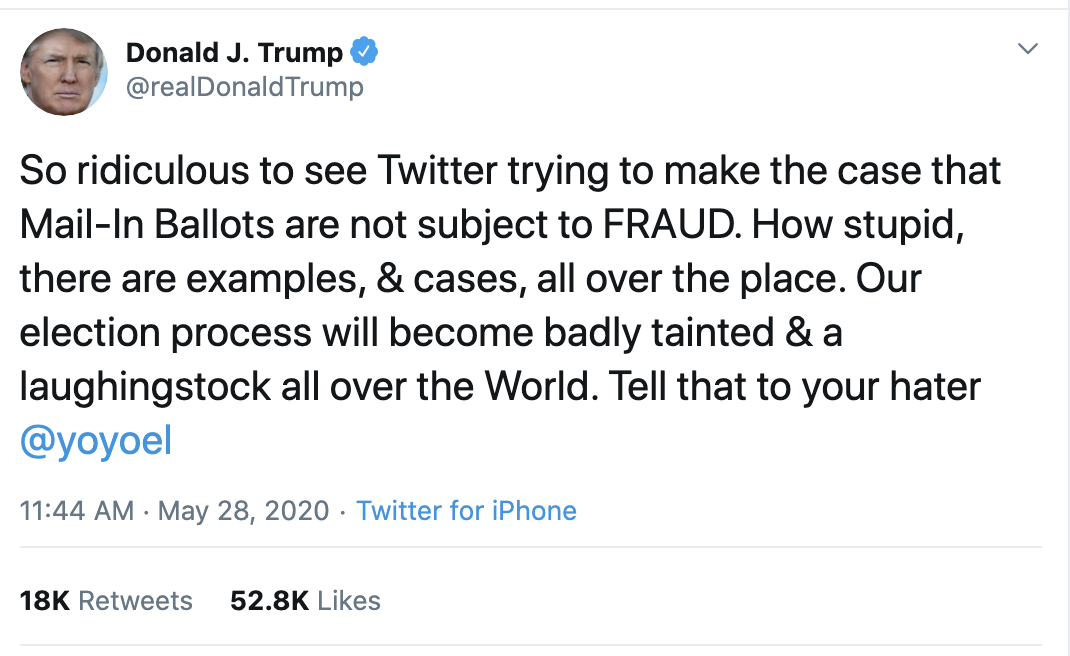 Screen-Shot-2020-05-28-at-12.52.22-PM Trump Attacks Twitter & Mail In Voting During Afternoon Meltdown Corruption Election 2020 Featured Politics Top Stories