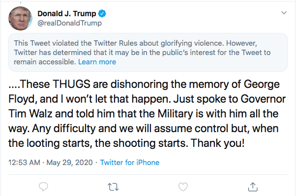 Screen-Shot-2020-05-29-at-7.30.15-AM Trump Threatens 'THUGS' & 'Twitter' During Pre-Dawn Emotional Collapse Black Lives Matter Donald Trump Featured Police Misconduct Politics Protest Racism Top Stories