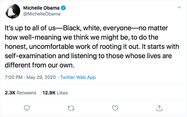 Screen-Shot-2020-05-29-at-7.40.14-PM Michelle Obama Returns With Inspirational Police Violence Declaration Black Lives Matter Featured Michelle Obama Politics Protest Racism Top Stories