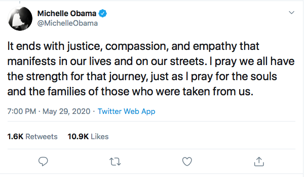 Screen-Shot-2020-05-29-at-7.40.26-PM Michelle Obama Returns With Inspirational Police Violence Declaration Black Lives Matter Featured Michelle Obama Politics Protest Racism Top Stories