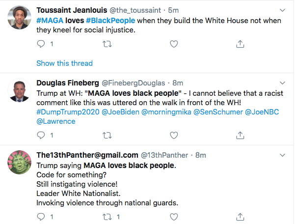 Screen-Shot-2020-05-30-at-1.03.27-PM Trump Stops On W.H. Lawn & Snarls 'MAGA Loves The Black People' Black Lives Matter Donald Trump Featured Politics Protest Racism Top Stories