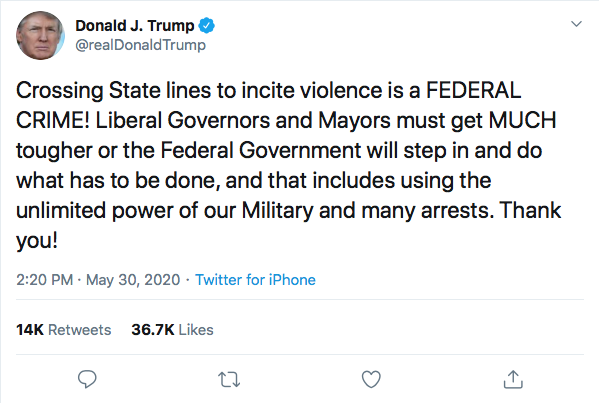 Screen-Shot-2020-05-30-at-2.39.23-PM Trump Declares Use Of 'Unlimited Military' On Protestors During Afternoon Meltdown Black Lives Matter Donald Trump Featured Politics Protest Racism Top Stories