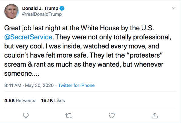 Screen-Shot-2020-05-30-at-8.54.39-AM Trump Threatens Protestors With 'Ominous Weapons' During AM Mental Collapse Black Lives Matter Donald Trump Featured Politics Protest Racism Top Stories Twitter