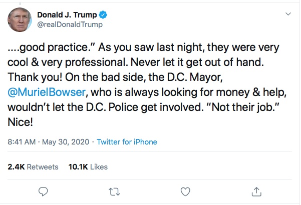 Screen-Shot-2020-05-30-at-8.55.14-AM Trump Threatens Protestors With 'Ominous Weapons' During AM Mental Collapse Black Lives Matter Donald Trump Featured Politics Protest Racism Top Stories Twitter